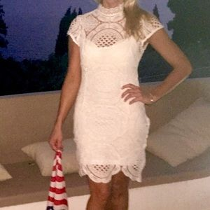 White lace dress with separate white slip